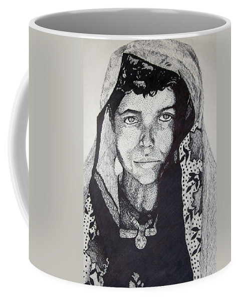 Boy Coffee Mug featuring the drawing Young Indian Boy by Jean Haynes