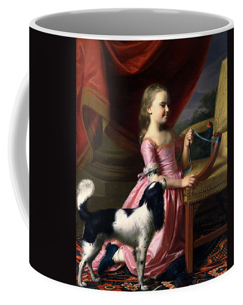 John Singleton Copley Coffee Mug featuring the painting Young Lady With A Bird And A Dog by John Singleton Copley