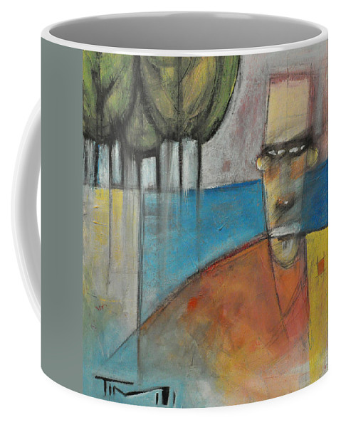 Man Coffee Mug featuring the painting Young Man And The Sea With Trees by Tim Nyberg