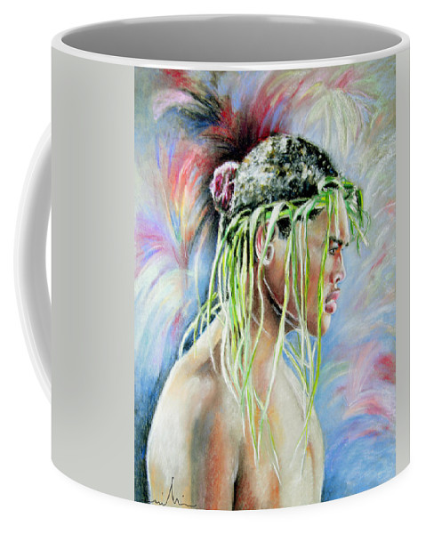 Maori Coffee Mug featuring the painting Young Maori Warrior by Miki De Goodaboom