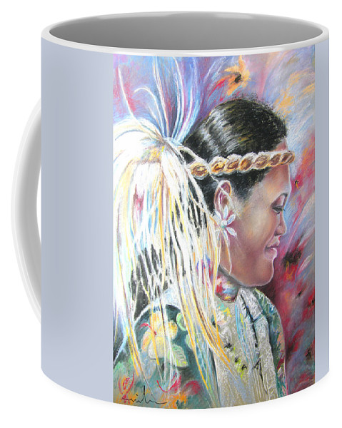 French Polynesia Coffee Mug featuring the painting Young Polynesian Mama by Miki De Goodaboom