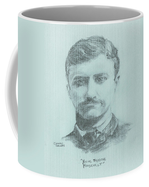 Teddy Roosevelt Coffee Mug featuring the drawing Young Theodore Roosevelt by Andrew Gillette
