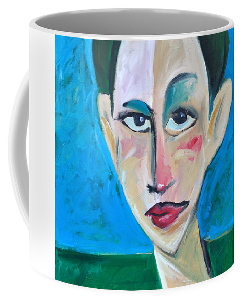 Woman Coffee Mug featuring the painting Young Woman Green Field by Tim Nyberg
