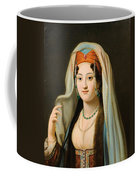 Charles Francois Jalabert Coffee Mug featuring the painting Young Woman In Traditional Ottoman Clothes by Charles Francois Jalabert