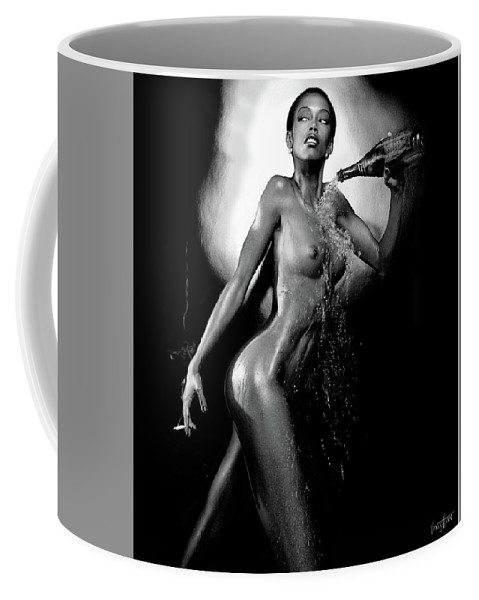 Beauty Coffee Mug featuring the digital art Young Woman With Champagne by James Vaughan