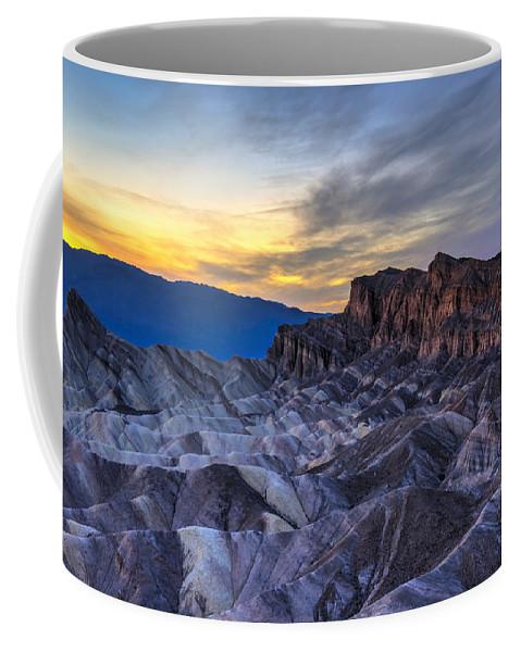 Adventure Coffee Mug featuring the photograph Zabriskie Point Sunset by Charles Dobbs