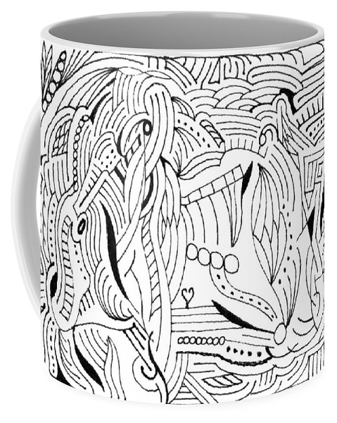 Mazes Coffee Mug featuring the drawing Zackary by Steven Natanson