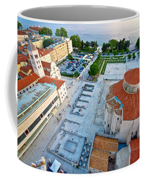 Church Coffee Mug featuring the photograph Zadar Forum Square Ancient Architecture Aerial View by Brch Photography