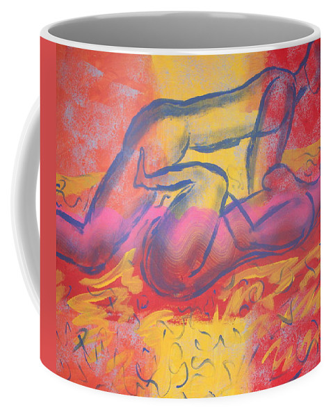 Love Making Lines Passion Nude Figures Male Female Sex Position Hues Multi Color Coffee Mug featuring the painting Zealous Love by JJ Burner
