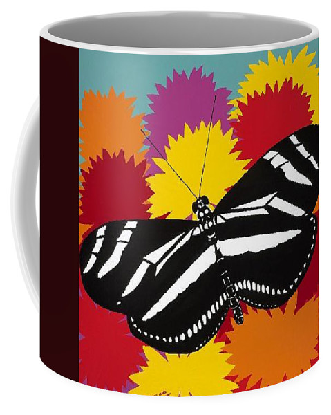 Butterfly Coffee Mug featuring the painting Zebra Butterfly by Synthia SAINT JAMES