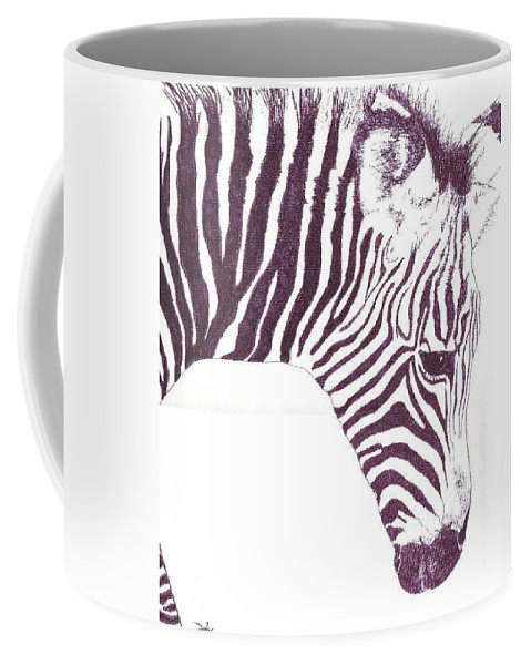 Zebra Coffee Mug featuring the painting Zebra Colt by Debra Sandstrom