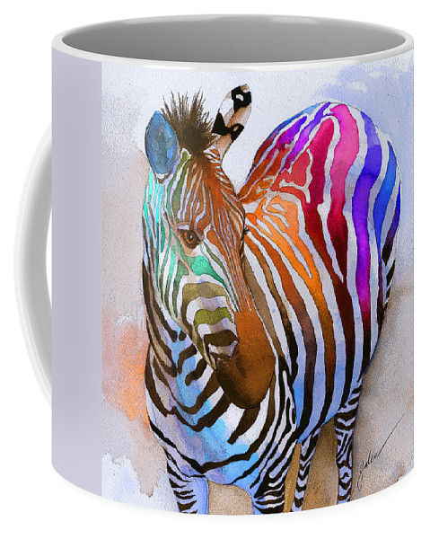 Colorful Coffee Mug featuring the painting Zebra Dreams by Galen Hazelhofer