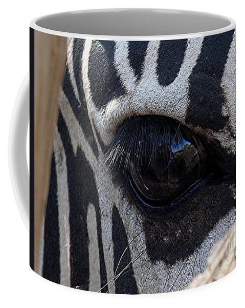 Zebra Coffee Mug featuring the photograph Zebra Eye by Diane Greco-Lesser