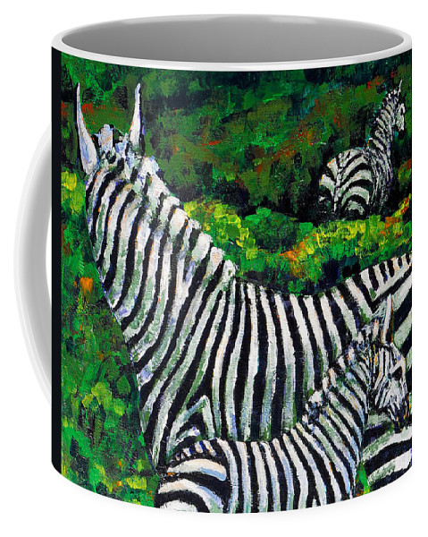 Nature Coffee Mug featuring the painting Zebra Family by Shirley Heyn