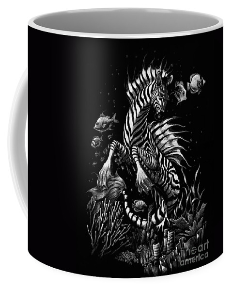 Seahorse Coffee Mug featuring the drawing Zebra Hippocampus by Stanley Morrison