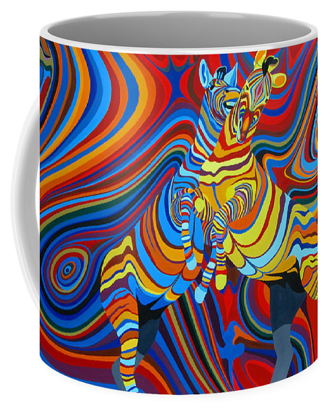 Zebra Coffee Mug featuring the painting Zebradelic by Pascal Etienne Roy