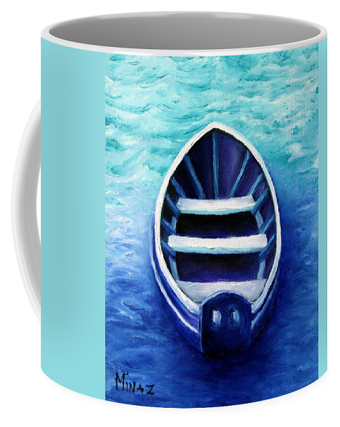Boat Coffee Mug featuring the painting Zen Boat by Minaz Jantz