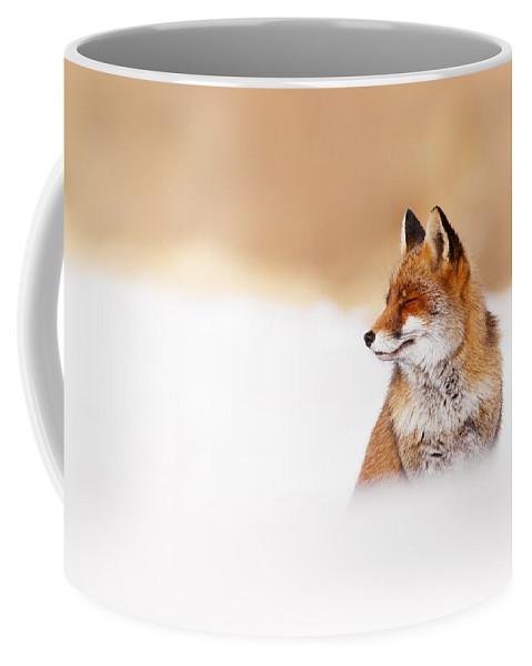 Fox Coffee Mug featuring the photograph Zen Fox Series - Zen Fox In Winter Mood by Roeselien Raimond