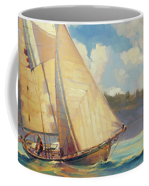 Sailboat Coffee Mug featuring the painting Zephyr by Steve Henderson