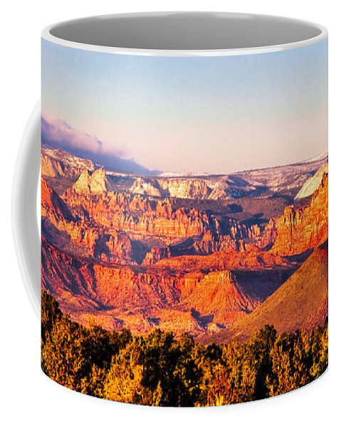 Zion Coffee Mug featuring the photograph Zion At Sunset by Ches Black