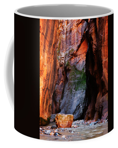 Zion Coffee Mug featuring the photograph Zion Narrows With Boulder by Alan Socolik