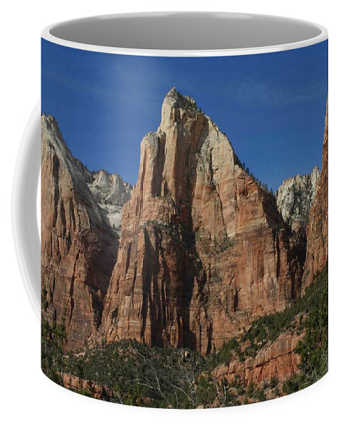 Zion Coffee Mug featuring the photograph Zion's Patriarchs by Nelson Strong