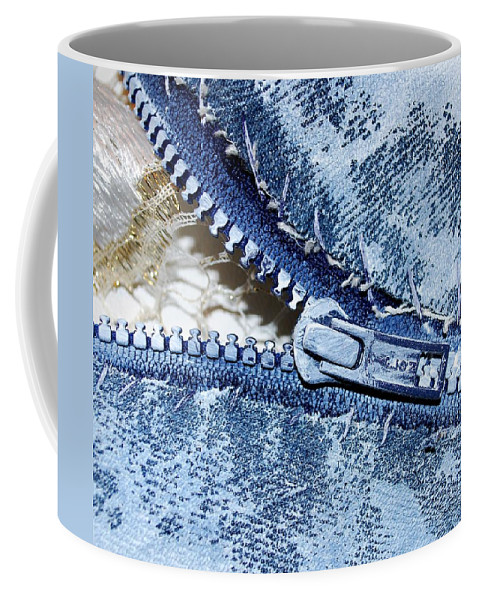 Painting Coffee Mug featuring the painting Zipper In Blue by Nancy Mueller