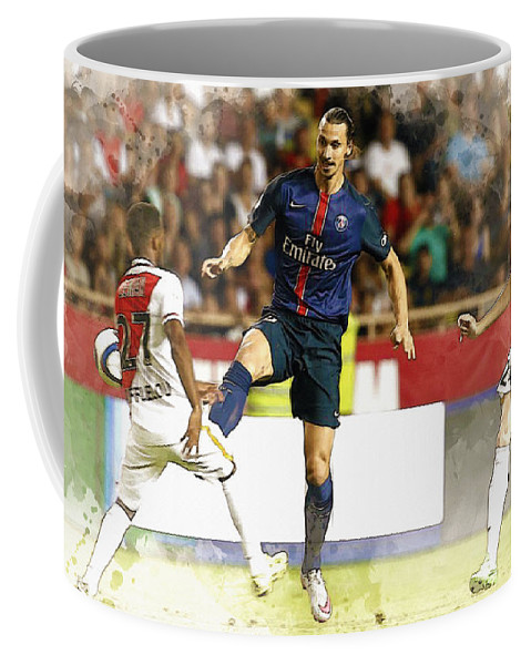 Uefa Chamipons League Coffee Mug featuring the digital art Zlatan Ibrahimovic In Action by Don Kuing