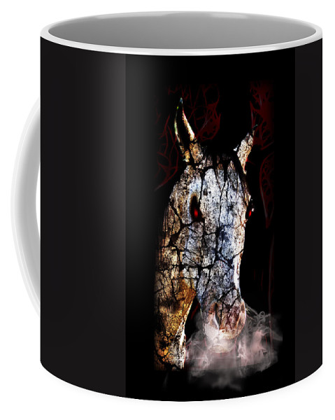 Coffee Mug featuring the mixed media Zombified Horse by Gravityx9 Designs