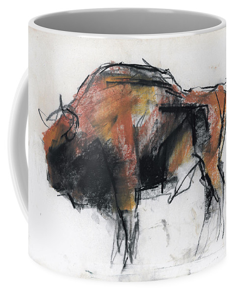 Bison Coffee Mug featuring the drawing Zubre Bialowieza by Mark Adlington