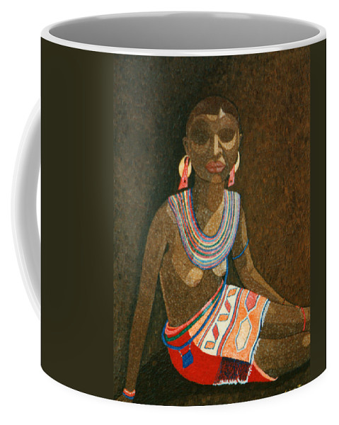 Zulu Woman Coffee Mug featuring the painting Zulu Woman With Beads by Madalena Lobao-Tello