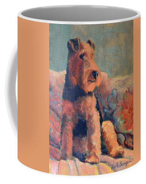 Pet Coffee Mug featuring the painting Zuzu by Keith Burgess