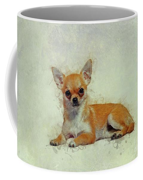 Chihuahua Coffee Mug featuring the drawing Chihuahua Art 1 by Ian Mitchell