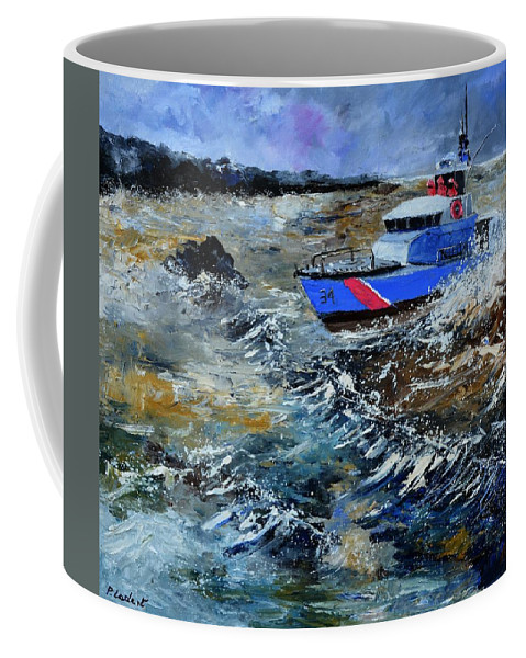 Seascape Coffee Mug featuring the painting Coastguards by Pol Ledent