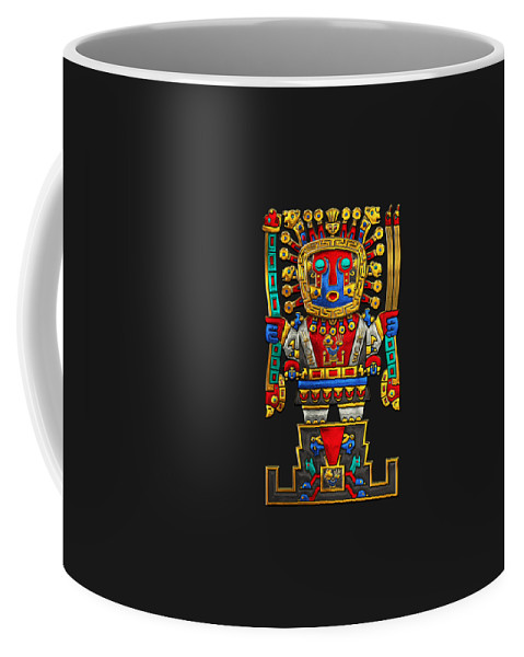 'treasures Of Pre-columbian America' Collection By Serge Averbukh Coffee Mug featuring the photograph Incan Gods - The Great Creator Viracocha On Black Canvas by Serge Averbukh