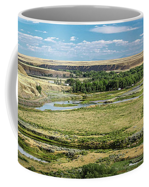 Panorama Coffee Mug featuring the photograph Marias River Valley by Todd Klassy