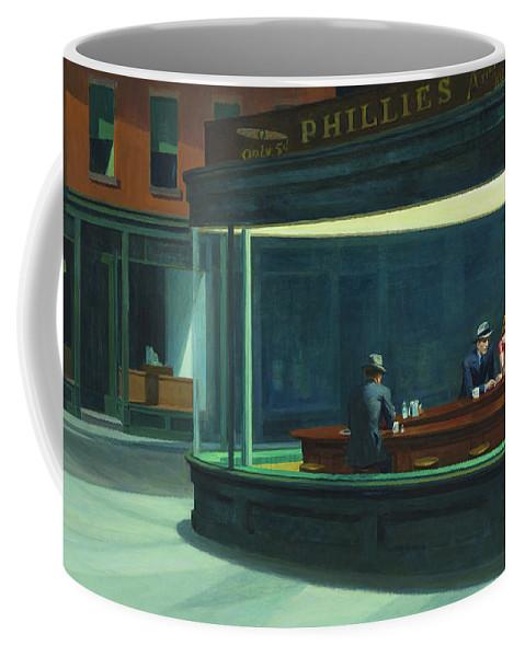 Hopper Coffee Mug featuring the painting Nighthawks, 1942 by Edward Hopper