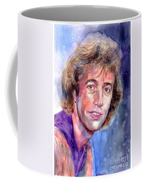 Robin Coffee Mug featuring the painting Robin Gibb Portrait by Suzann Sines