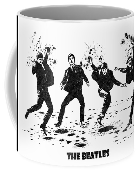 The Beatles Coffee Mug featuring the painting The Beatles Black And White Watercolor 01 by JESP Art and Decor