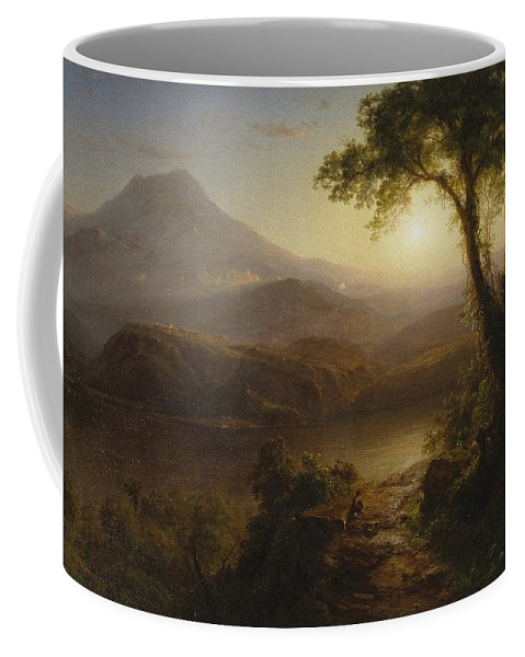 Tropical Scenery Coffee Mug featuring the painting Tropical Scenery by Frederic Edwin Church