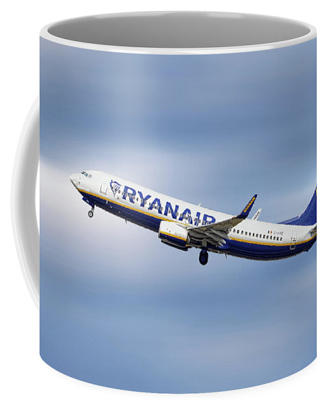 Ryanair Coffee Mug featuring the mixed media Ryanair Boeing 737-8as by Smart Aviation