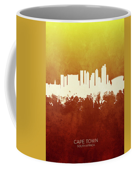 Cape Town Coffee Mug featuring the digital art Cape Town South Africa Skyline 11 by Michael Tompsett