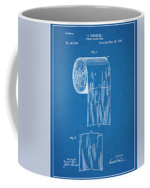 1891 Toilet Paper Roll Patent Print Coffee Mug featuring the drawing 1891 Toilet Paper Roll Blueprint Patent Print by Greg Edwards