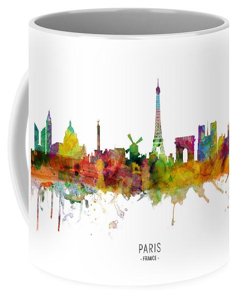 Paris Coffee Mug featuring the digital art Paris France Skyline by Michael Tompsett