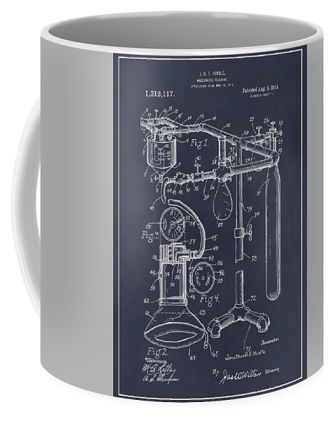 1919 Anesthetic Machine Patent Print Coffee Mug featuring the drawing 1919 Anesthetic Machine Blackboard Patent Print by Greg Edwards