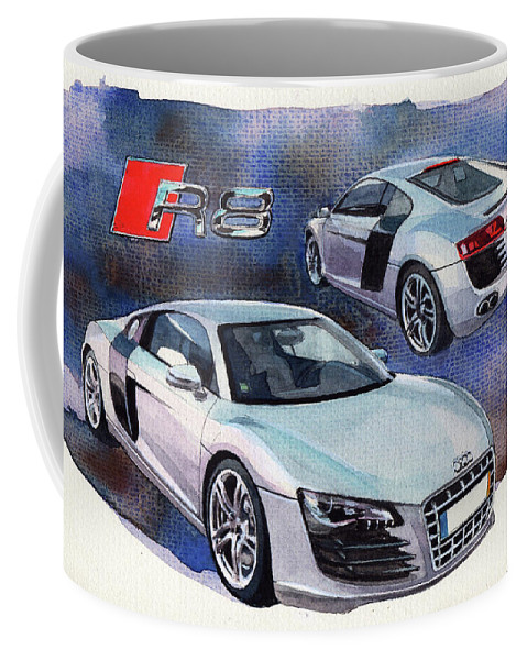 Audi Coffee Mug featuring the painting Audi R8 by Yoshiharu Miyakawa