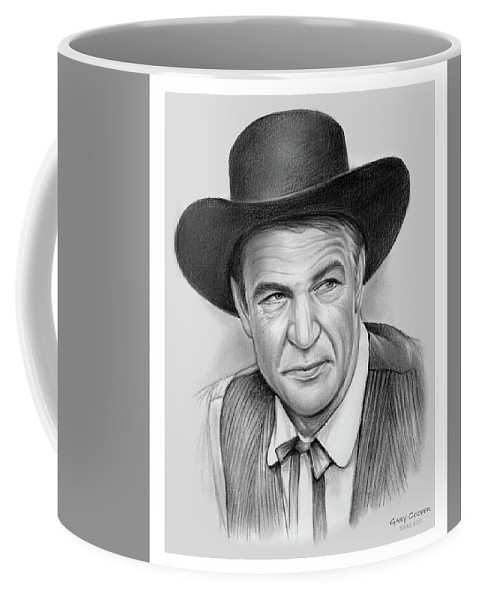 Gary Cooper Coffee Mug featuring the drawing Gary Cooper by Greg Joens