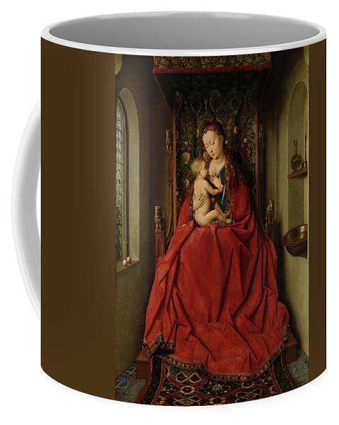 Jan Van Eyck Coffee Mug featuring the painting Lucca Madonna by Jan van Eyck