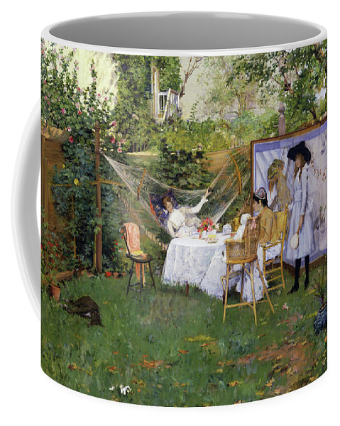 America Coffee Mug featuring the painting Open Air Breakfast by William Merritt Chase