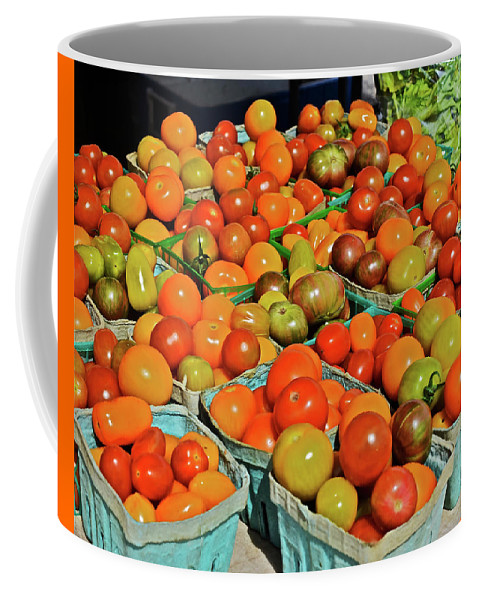 Tomatoes Coffee Mug featuring the photograph 2019 Farmers' Market Spring Green Cherry Tomatoes by Janis Nussbaum Senungetuk